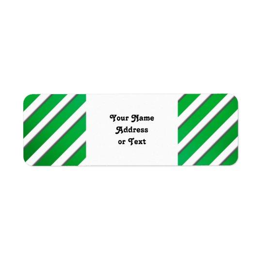 Shiny Green Stripes (Add 2nd Colour) Return Address Label