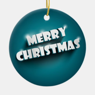 Shiny Merry Christmas greeting on blue background Ornaments
