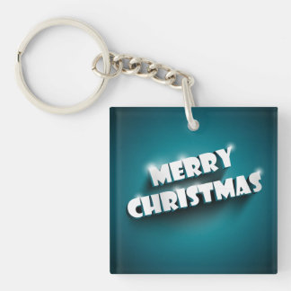 Shiny Merry Christmas greeting on blue background Acrylic Key Chain