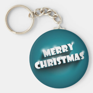 Shiny Merry Christmas greeting on blue background Key Chain