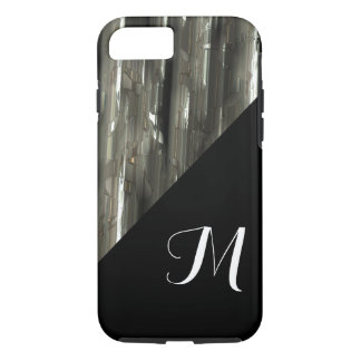 Shiny Metal blocks with black monogram iPhone 8/7 Case