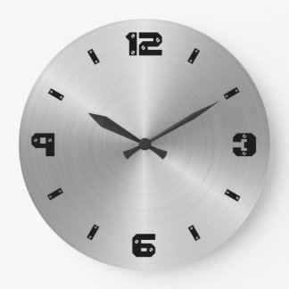 Shiny Metal Texture, Numbers With Screw Heads Large Clock