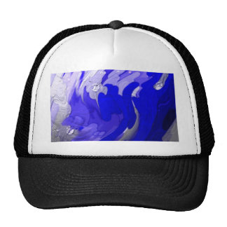 shiny, metalic color, abstract blue hats