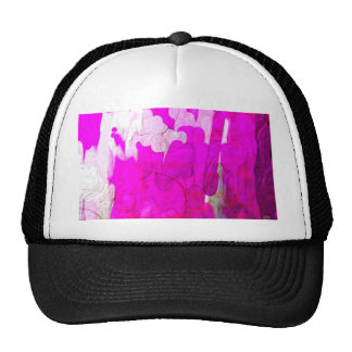 shiny metalic color, pink abstract mesh hats