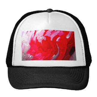 shiny metalic color, red, abstract trucker hat