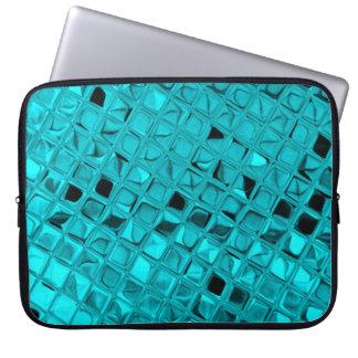 Shiny Metallic Girly Teal Peacock Diamond Mirror Laptop Sleeve