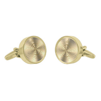 Shiny Metallic Gold Stainless Steel Look Gold Finish Cufflinks
