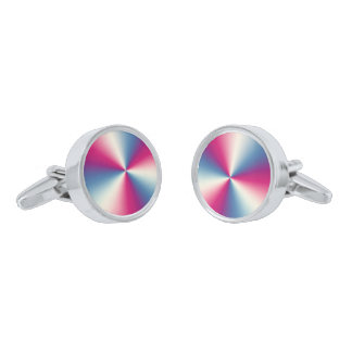 Shiny Metallic Multicolor Stainless Steel Silver Finish Cufflinks