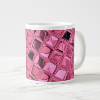 Shiny Metallic Pink Diamond Faux Serpentine Jumbo Mugs