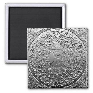 Shiny Metallic Steel Metal Look Yin Yang Square Magnet