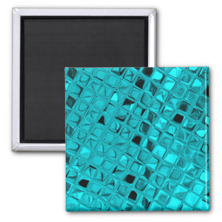 Shiny Metallic Teal Diamond Faux Serpentine Magnets
