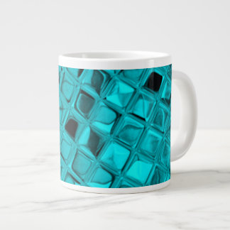 Shiny Metallic Teal Diamond Faux Serpentine Extra Large Mug