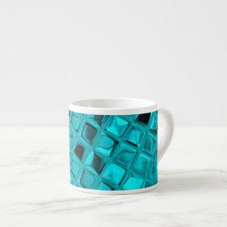 Shiny Metallic Teal Diamond Faux Serpentine Espresso Mugs