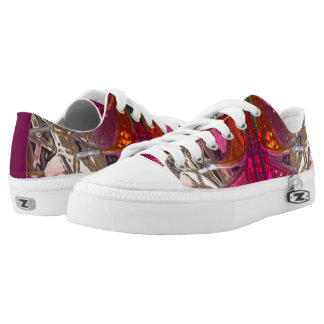 Shiny metallizer red and pink glass print pattern low tops