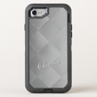 Shiny Modern Checkered Metal Silver any Name OtterBox Defender iPhone 8/7 Case