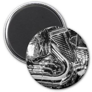 Shiny motorbike engine 6 cm round magnet
