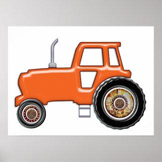 Shiny Orange Tractor Poster