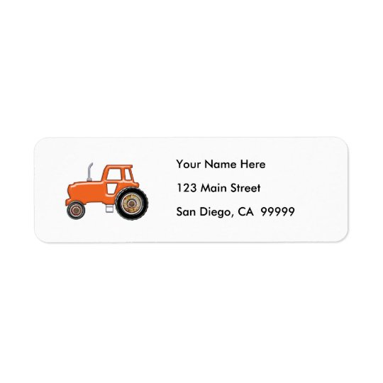 Shiny Orange Tractor Return Address Label