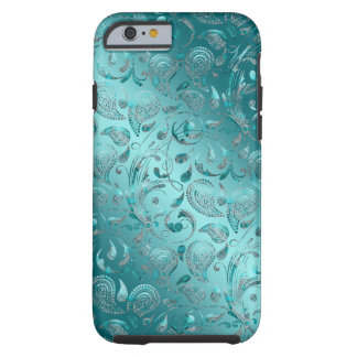 Shiny Paisley Turquoise Tough iPhone 6 Case