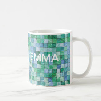 Shiny Pastel Blue Green Glass Block Tile Mosaic Coffee Mug