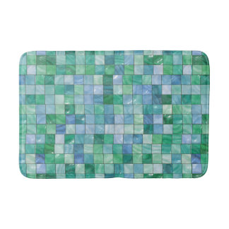 Shiny Pastel Blue Green Glass Block Tile Mosaic Sh Bath Mat