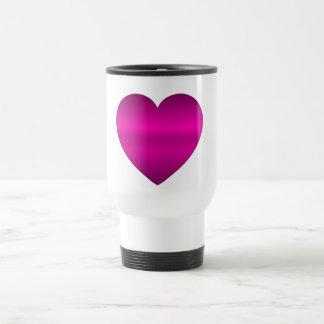 Shiny Pink Heart Travel Mug