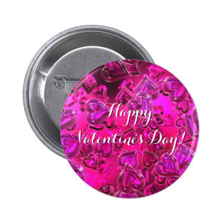 Shiny Pink Hearts Happy Valentine´s Day 6 Cm Round Badge