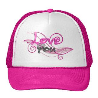 shiny pink love you swirl art trucker hat