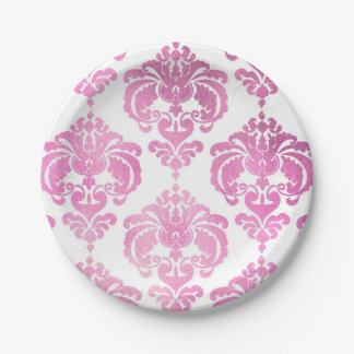 Shiny Pink & White Damask Vintage Wedding Event Paper Plate