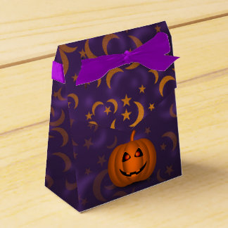 Shiny Pumpkin Halloween Moon Purple Favor Box