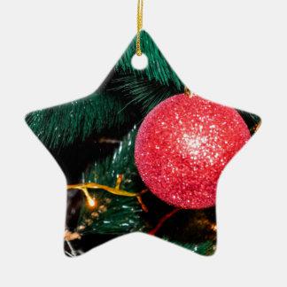 Shiny Red Bauble Adorning Christmas Tree Ceramic Star Decoration