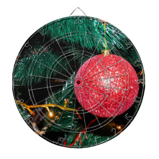Shiny Red Bauble Adorning Christmas Tree Dartboards
