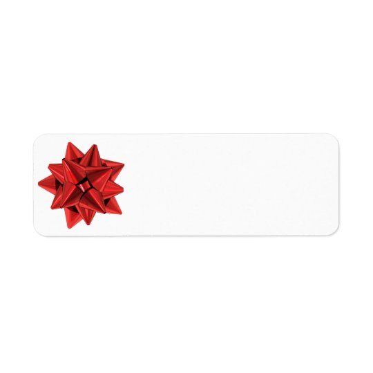 Shiny Red Bow Return Address Label