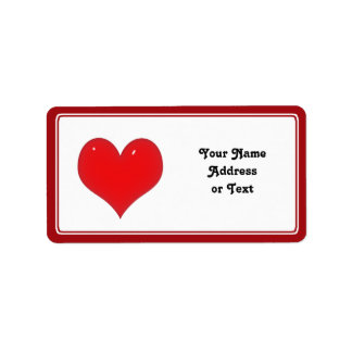 Shiny Red Heart of Love Address Label