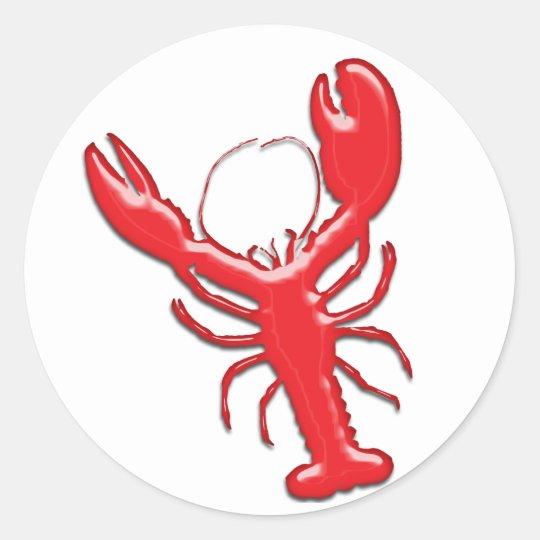 Shiny Red Lobster Round Sticker