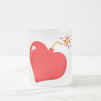 SHINY RED LOVE HEART BOMB GRAPHICS VECTORS FLIRT C FROSTED GLASS COFFEE MUG