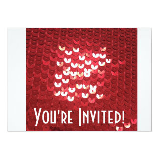 Shiny Red Sequins 13 Cm X 18 Cm Invitation Card