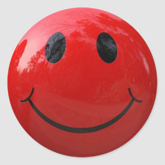 Shiny Red Smiley Face Sticker