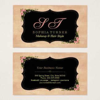 Shiny Rose Gold Glitter Wild Flowers Monogram Business Card