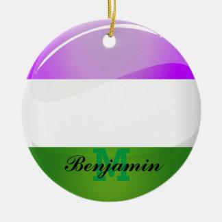 Shiny Round Genderqueer Flag Ceramic Ornament