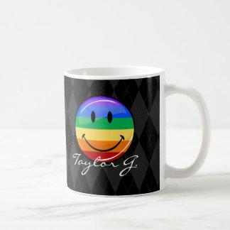 Shiny Round Happy Gay Pride Flag Coffee Mug