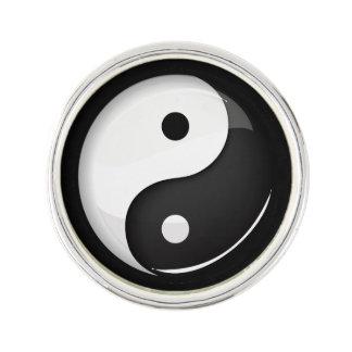 Shiny Round Yin Yang Symbol Lapel Pin