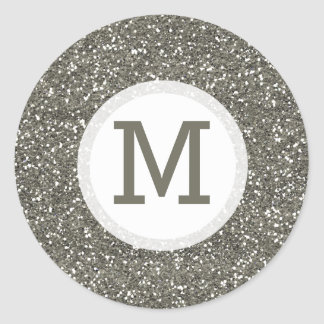 Shiny Silver Glitter Monogram Seal Round Sticker