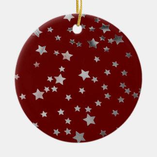 Shiny Silver Glitter Stars Red Christmas Round Ceramic Decoration