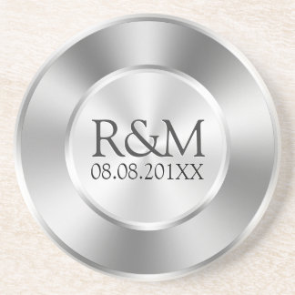 Shiny Silver Gray Stainless Steel Look Monogram Coaster