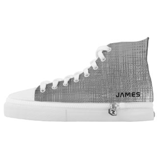 Shiny Silver Metal Texture Print Personalized Name High Tops
