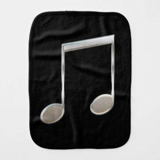 Shiny Silver Music Notation Beamed Whole Notes Burp Cloth