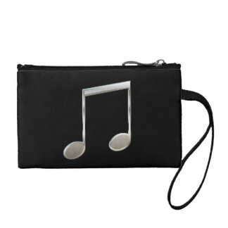 Shiny Silver Music Notation Beamed Whole Notes Change Purses