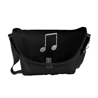 Shiny Silver Music Notation Beamed Whole Notes Commuter Bags