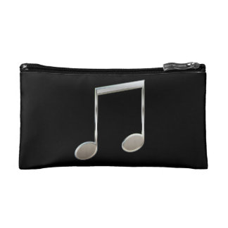 Shiny Silver Music Notation Beamed Whole Notes Cosmetics Bags